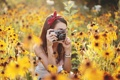 Картинка камера, цветы, девушка, лето