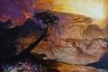 Картинка солнце, цветы, горы, дерево, нарисованный пейзаж