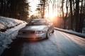 Картинка закат, stance, Audi, ауди, догога, снег, лес