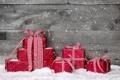 Картинка зима, снег, ленты, подарки, красные, Christmas, праздники