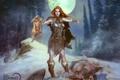 Картинка взгляд, девушка, снег, ночь, луна, волк, убийство