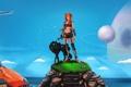 Картинка девушка, планеты, собака, арт, рыжая, гаечный ключ