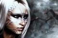 Картинка зима, девушка, снег, дракон, игра, белые волосы, skyrim
