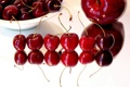 Картинка вишня, фон, яблоко, красные, сладкая