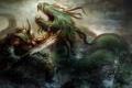 Картинка море, фантастика, океан, монстр, меч, доспехи, воин