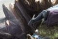 Картинка трава, горы, камни, сова, птица, дракон, высота