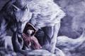 Картинка волк, красная шапочка, арт, девочка, плащ, красные глаза, namacotan