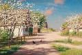 Картинка весна, сад, домики, Швеция, цветение, Pickande höns på byväg, Johan Krouthén