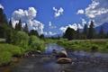 Картинка природа, камни, река, лес, небо