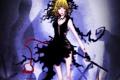 Картинка девушка, оружие, кровь, удивление, кладбище, коса, art