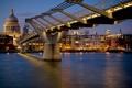 Картинка ночь, мост, огни, река