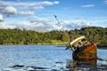 Картинка пейзаж, озеро, корабль