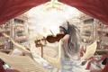 Картинка девушка, ноты, музыка, скрипка, арт, листы, опера