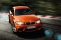 Картинка дорога, оранжевый, bmw, купе, поворот, водитель, дрифт