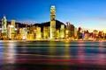 Картинка ночь, город, огни, Гонконг, небоскребы, подсветка, Китай