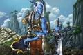Картинка меч, девушка, World of Warcraft, доспехи, горы, взгляд, Wow