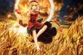 Картинка пшеница, поле, осень, листья, девушка, урожай, арт