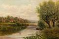 Картинка небо, деревья, пейзаж, река, лодка, дома, картина