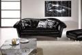 Картинка диван, черный, интерьер, кресло, комната. квартира
