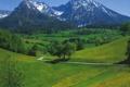 Картинка дорога, небо, деревья, горы, дом, Австрия, долина