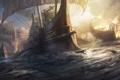 Картинка море, обломки, огонь, дым, парусник, корабли, арт
