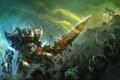 Картинка девушка, скалы, меч, арт, битва, монтры, World of Legend