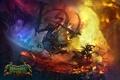 Картинка огонь, драконы, бой, монстры, полёт, битва, мечи