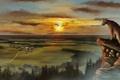 Картинка закат, пейзаж, камень, лес, высота, вид, деревня