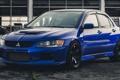 Картинка Mitsubishi, blue, front, Evolution, Lancer