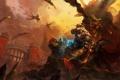 Картинка оружие, драконы, арт, монстры, World of Warcraft, битва, орк