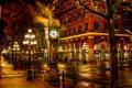 Картинка ночь, город, улица, часы, фонари