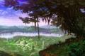 Картинка пейзаж, город, фантастика, дерево, остров, руины, водопады