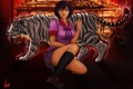 Картинка девушка, тигр, арт, очки, bakemonogatari, сидя, ebi