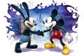Картинка замок, рукопожатие, белый фон, краски, The Power of Two, дисней, Epic Mickey 2