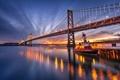 Картинка мост, город, река, буксир, вечер, сумерки