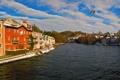 Картинка город, дома, небо, Gmunden, фото, Австрия, река