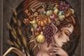 Картинка девушка, лицо, эльф, арт, прическа, виноград, профиль