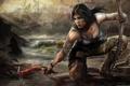 Картинка лук, арт, Tomb Raider, Лара Крофт, art, Lara Croft, ледоруб