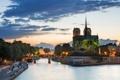 Картинка мост, огни, река, Франция, Париж, вечер, Сена