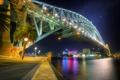 Картинка мост, огни, дома, вечер, фонари, набережная, Australia