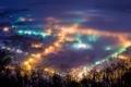 Картинка ночь, город, огни, туман