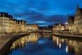 Картинка ночь, город, фото, дома, Бельгия, Gent, водный канал