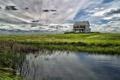 Картинка поле, небо, пейзаж, дом