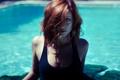 Картинка купальник, бассейн, рыжеволосая