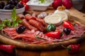 Картинка зелень, еда, сыр, мясо, перец, оливки, петрушка