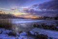 Картинка рассвет, холмы, озеро, Швеция, зима, лед, снег