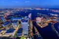 Картинка ночь, город, река, фото, небоскребы, Япония, сверху
