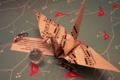 Картинка певчая птица, оригами, ноты