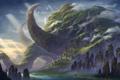 Картинка зелень, вода, город, замок, скалы, слон, гора