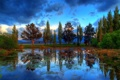 Картинка небо, облака, деревья, горы, пруд, отражение
